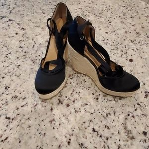 Nine West black satin wedges